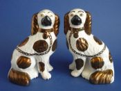 Lovely Pair of Staffordshire Copper Lustre Spaniels c1870